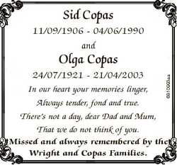 Sid Copas 11/09/1906 - 04/06/1990 and 24/07/1921 - 21/04/2003 In our heart your memories linger, Alw...