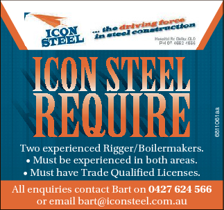 Reeqqqui RRequiRe quiRe qu uiiiiRRRReee uuuiR Two experienced Rigger/Boilermakers. * Must be experienced in both areas. * Must have Trade Qualified Licenses. All enquiries contact Bart on 0427 624 566 or email bart@iconsteel.com.au 6811061aa icon Steel icon SStee St teee eel