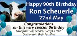 Happy 90th Birthday  Ron Scheuerle  22nd May 1928  Congratulations on this ver...