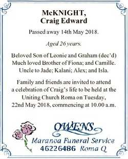 McKNIGHT, Craig Edward Passed away 14th May 2018. Aged 26 years. Beloved Son of Leonie and Graham (d...