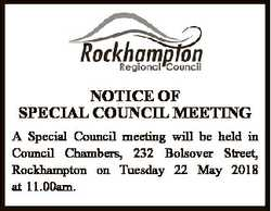 A Special Council meeting will be held in Council Chambers, 232 Bolsover Street, Rockhampton on T...