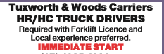 Tuxworth & Woods Carriers HR/HC TRUCK DRIVERS Required with Forklift Licence and Local experi...