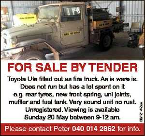 Toyota Ute fitted out as fire truck. As is were is. Does not run but has a lot spent on it e.g. rear...