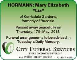 "HORMANN: Mary Elizabeth ""Liz"" of Kerrisdale Gardens, formerly of Bucasia. Passed away peac..."