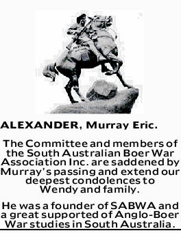 ALEXANDER, Murray Eric. The Committee and members of the South Australian Boer War Association In...