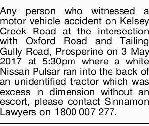 Any person who witnessed a motor vehicle accident on Kelsey Creek Road at the intersection with O...