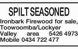 SPILT SEASONED Ironbark Firewood for sale,    Toowoomba/Lockyer Valley area   5426 4973 M...