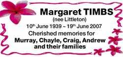 Margaret TIMBS (nee Littleton)  10th June 1939 ~ 19th June 2007  Cherished memories...