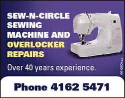 Over 40 years experience. Phone 4162 5471 6619804aa SEW-N-CIRCLE SEWING MACHINE AND OVERLOCKER REPAI...