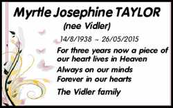 Myrtle Josephine TAYLOR (nee Vidler)