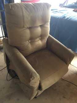 Slimline fabric chair.  Has battery backup.