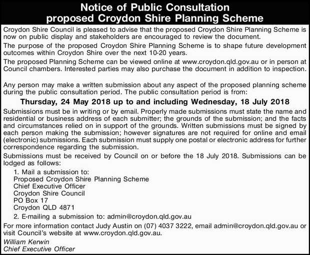 Croydon Shire Council is pleased to advise that the proposed Croydon Shire...
