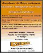 Electrician / Refrigeration Dual Trader or Refrigeration Mechanic