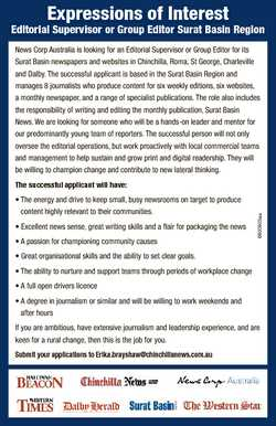 Expressions of Interest Editorial Supervisor or Group Editor Surat Basin Region News Corp Australia...
