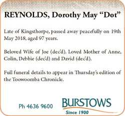 """REYNOLDS, Dorothy May """"Dot"""" Late of Kingsthorpe, passed away peacefully on 19th May 2018,..."""