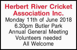 Herbert River Cricket   Association Inc.   Monday 11thof June 2018   6.30pm But...