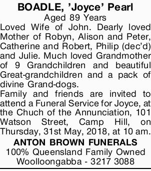 BOADLE, 'Joyce' Pearl   Aged 89 Years   Loved Wife of John. Dearly loved Mother o...