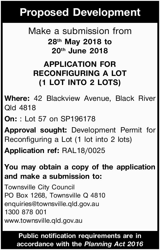 Proposed Development   Make a submission from   28th May 2018 to   20th June 2018  ...