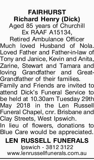 FAIRHURST Richard Henry (Dick)   Aged 85 years of Churchill   Ex RAAF A15134, Retired Amb...
