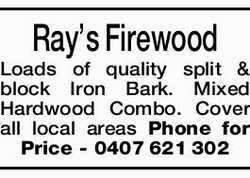Ray's Firewood   Loads of quality split & block Iron Bark. Mixed Hardwood Combo. ...