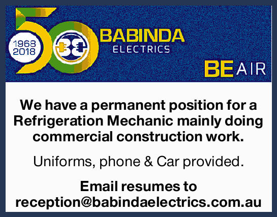 We have a permanent position for a Refrigeration Mechanic mainly doing commercial construction wo...