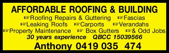AFFORDABLE ROOFING & BUILDING    Roofing Repairs & Guttering   Fascias Leaking Ro...