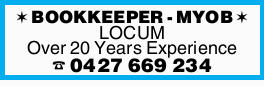 BOOKKEEPER - MYOB LOCUM Over 20 Years Experience