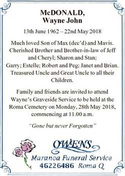 McDONALD, Wayne John 13th June 1962 - 22nd May 2018 Much loved Son of Max (dec'd) and Mavis. Che...