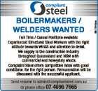 BOILERMAKERS / WELDERS WANTED