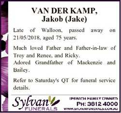 VAN DER KAMP, Jakob (Jake) Late of Walloon, passed 21/05/2018, aged 75 years. away on Much loved Fat...