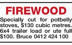 FIREWOOD   Specially cut for potbelly stoves, $130 cubic metres.   6x4 trailer load or ut...