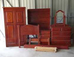 Single bedroom suite Bed, Wardrobe, Dressing table & Desk -Solid Pine. Pick up only