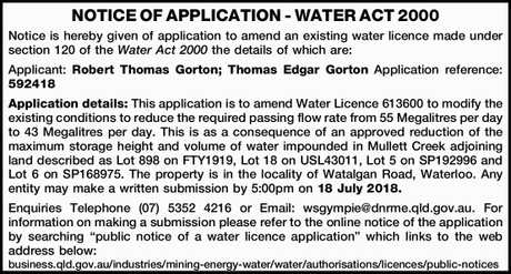 <p> NOTICE OF APPLICATION - WATER ACT 2000 </p> <p> Notice is hereby given of application to...</p>
