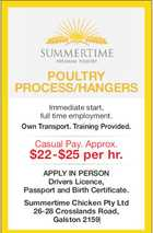 POULTRY PROCESS/HANGERS