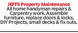 JEFFS Property Maintenance   All home handyman repairs & Carpentry work.   Assemble f...