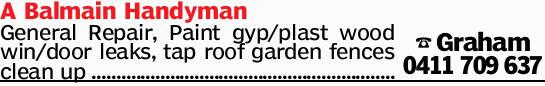 A Balmain Handyman General Repair, Paint gyp/plast wood win/door leaks, tap roof garden fences cl...