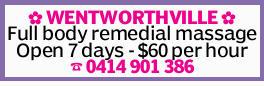 WENTWORTHVILLE Full body remedial massage Open 7 days - $60 per hour 0414901386