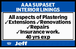 AAA SUPASET INTERIOR LININGS   All aspects of Plastering   Extensions   Renovations ...