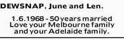 DEWSNAP, June and Len.