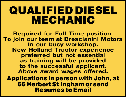 Required for Full Time position.   To join our team at Brescianini Motors In our busy worksho...