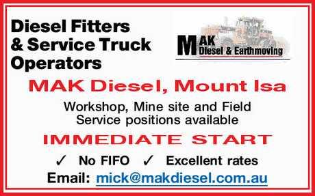 <p> Diesel Fitters & Service Truck Operators </p> <p> MAK Diesel, Mount Isa Workshop, Mine...</p>