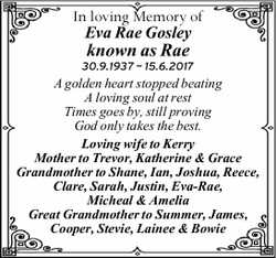 In loving Memory of Eva Rae Gosley   known as Rae   30.9.1937 ~ 15.6.2017   A golden...