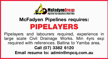 McFadyen Pipelines requires: PIPELAYERS.