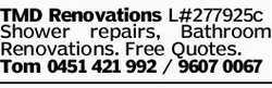 TMD Renovations L#277925c Shower repairs, Bathroom Renovations. Free Quotes. Tom