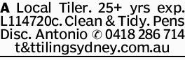 A Local Tiler. 25+ yrs exp. L114720c. Clean & Tidy. Pens Disc. Antonio t&ttilingsyd...
