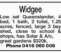 Widgee Low set Queenslander, 4 bed, 1 bath, 2 toilet, 1.25 acres, fenced, large 3 bay shed, close...