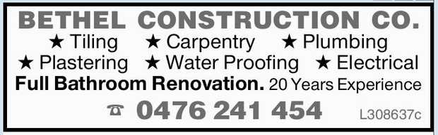 BETHEL CONSTRUCTION CO.   Tiling   Carpentry   Plumbing   Plastering   Water...