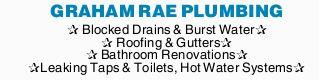GRAHAM RAE PLUMBING   Blocked Drains & Burst Water   Roofing & Gutters Bath...