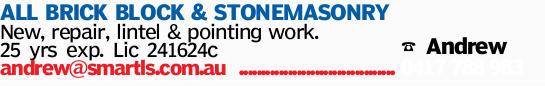 ALL BRICK BLOCK & STONEMASONRY   New, repair & remedial works.   25yrs exp.   ...