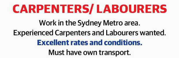 Work in the Sydney Metro area.